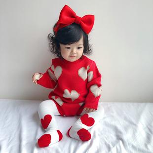 秋冬季 哈衣 女婴儿新年圣诞衣服婴幼儿红色爱心针织连体衣纯棉长袖