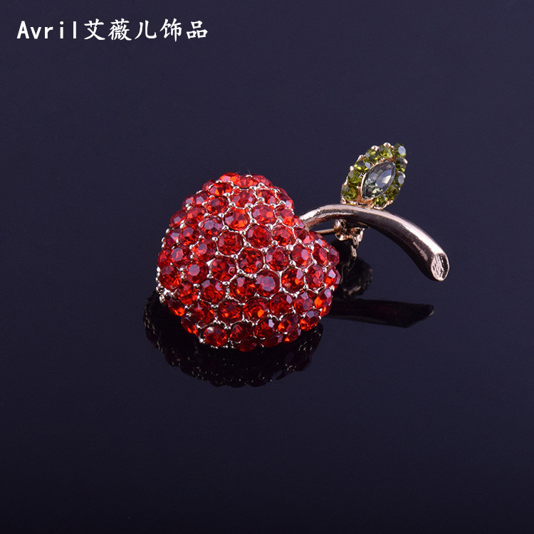 Red apple Brooch light proof Rhinestone Pin fixed clothes luxury sweater suit coat female Mini button