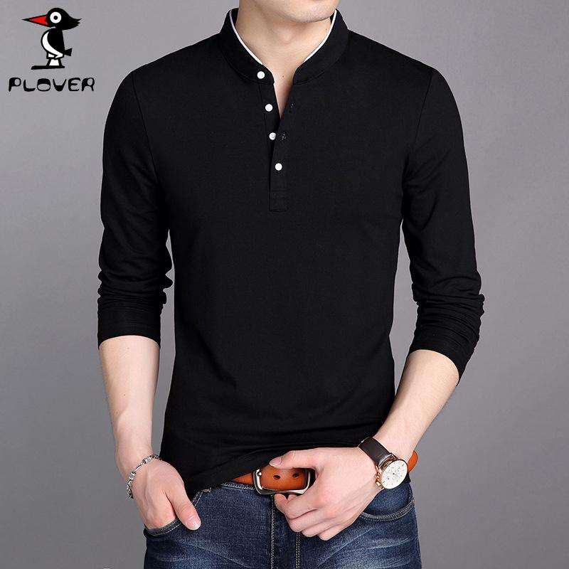 Plover秋冬新款男士纯棉长袖T恤衫青年立领纯色男装修身打底衫 潮