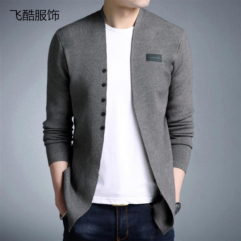 2020 spring new mens knitting cardigan fashion slim Korean mens sweater outerwear