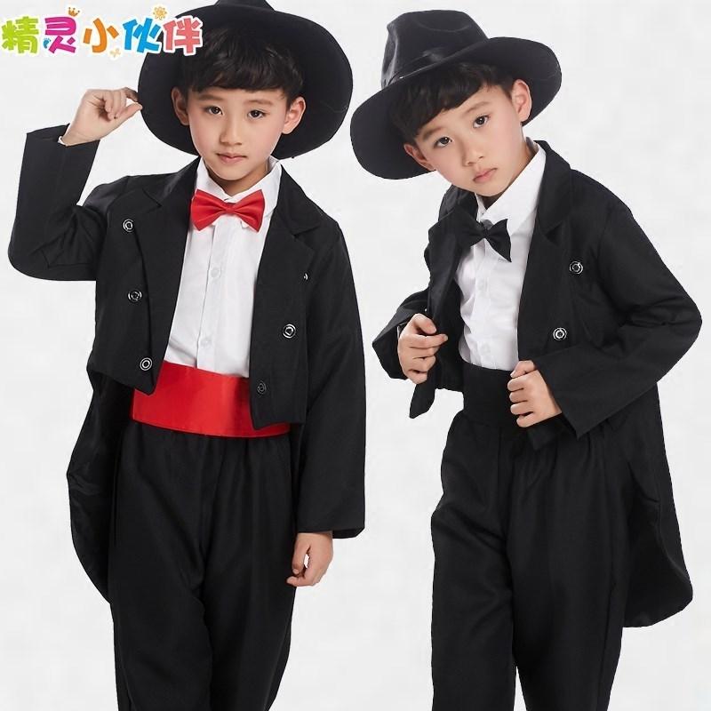 儿童礼服男童燕尾服套装春秋款花童礼服男童魔术师西服钢琴演出服