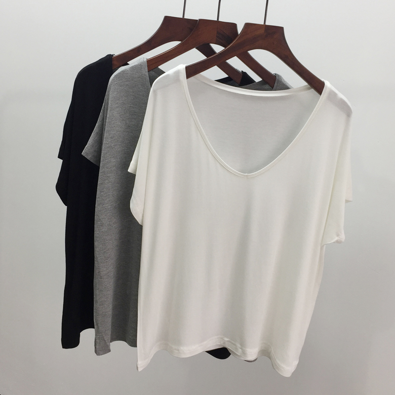 ? Summer Euro American Style Sexy modal loose and thin V-neck Short Sleeve T-Shirt Large womens jacket