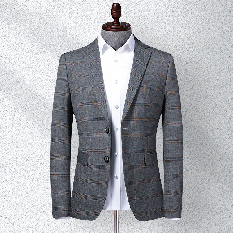 New mens middle-aged casual slim Plaid suit coat