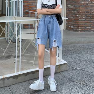#白色破洞牛仔短裤女夏季不规则宽松高腰显瘦五分中裤潮ins,女装牛仔裤,V8牛仔