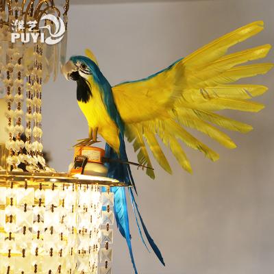 仿真金刚鹦鹉标本非活体羽毛摆件园林家居装饰鸟工艺品展翅新品