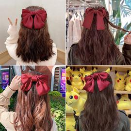 网红成人红色大蝴蝶结发夹弹簧夹发卡后脑勺夹子发饰发绳头饰少女图片