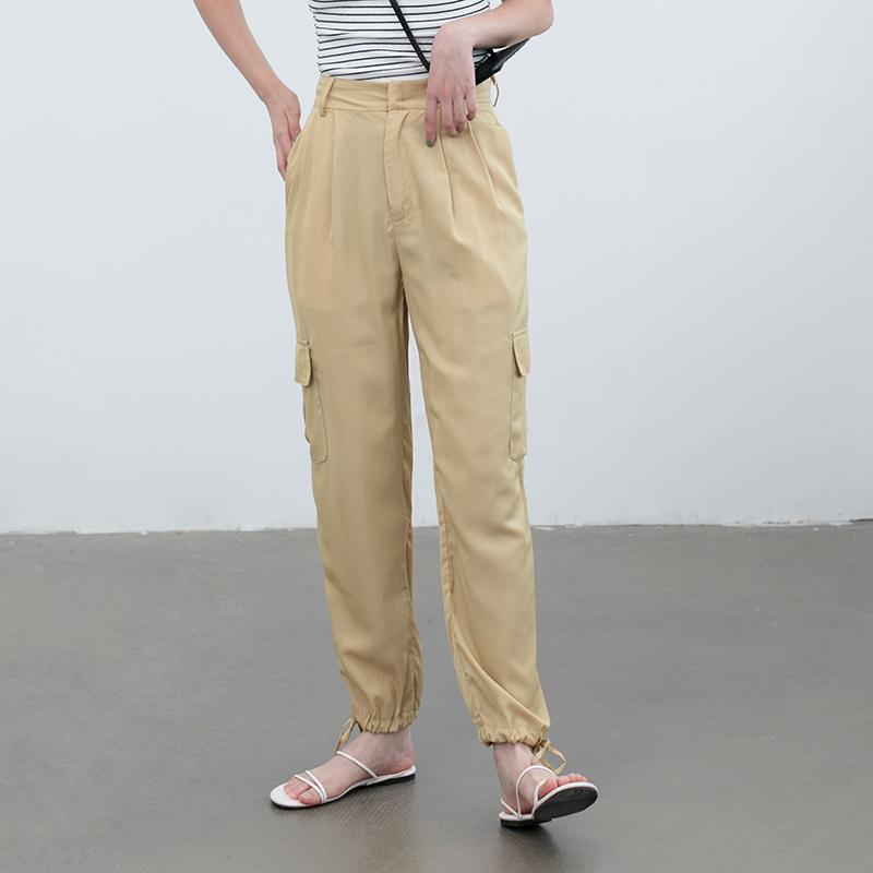限4000张券eggka纯色束脚裤光面丝滑哈伦裤