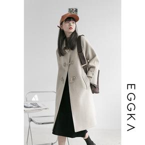 日系牛角扣加棉加厚呢子大衣女冬季2020新款宽松小个子毛呢外套