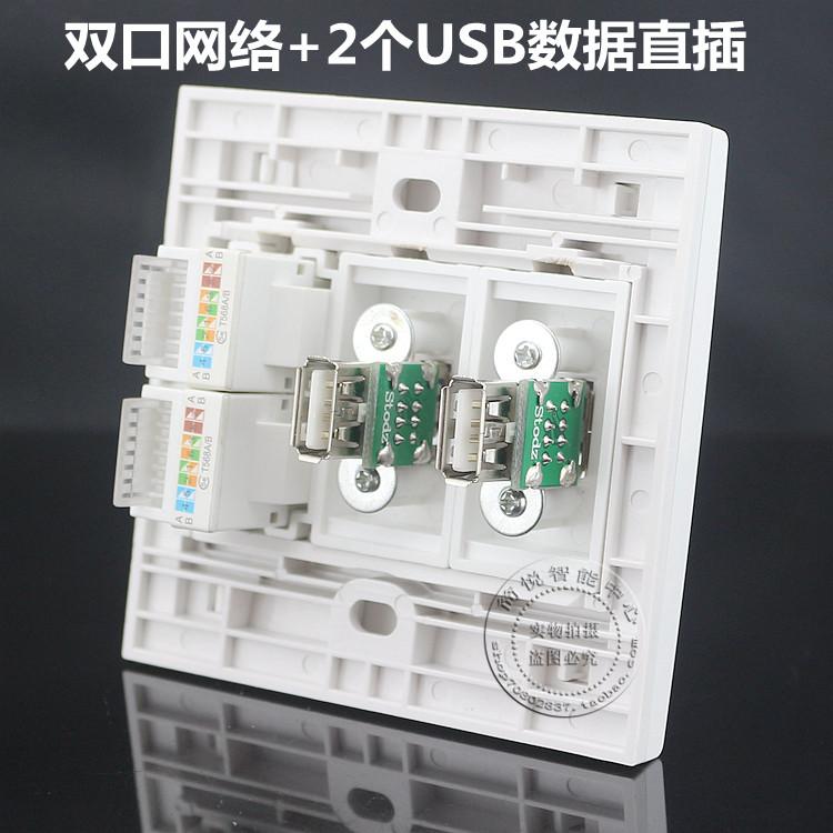 86型双口网络带双USB数据直插面板电脑网线信息面板USB延长线插座