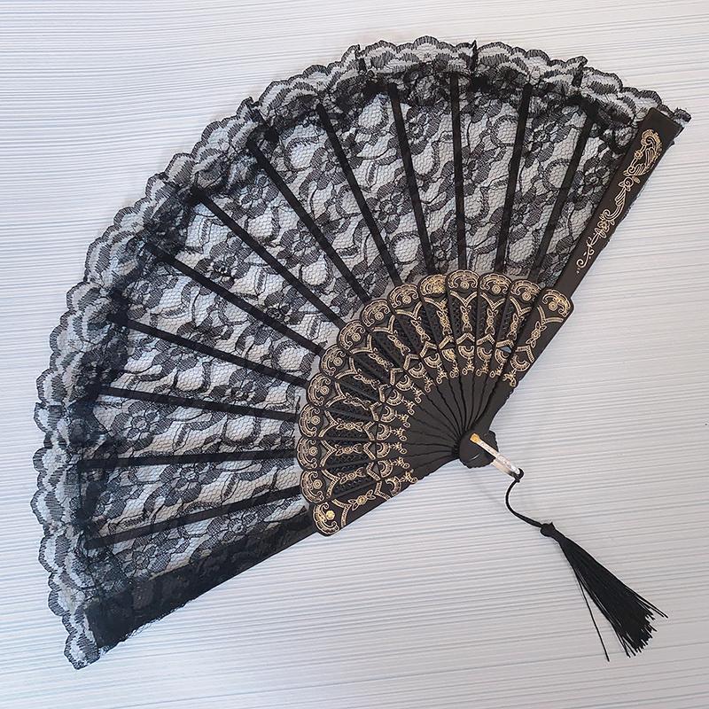 黑暗萝莉蕾丝扇子拍照 折扇中国风舞蹈扇旗袍扇子 折叠扇古装黑色 Изображение 1