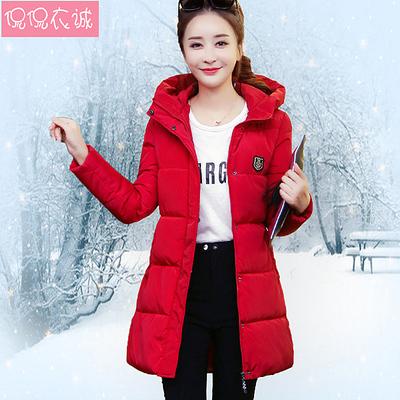 2018新款冬棉袄加厚棉衣外套羽绒棉服女中长款韩版修身连帽面包服