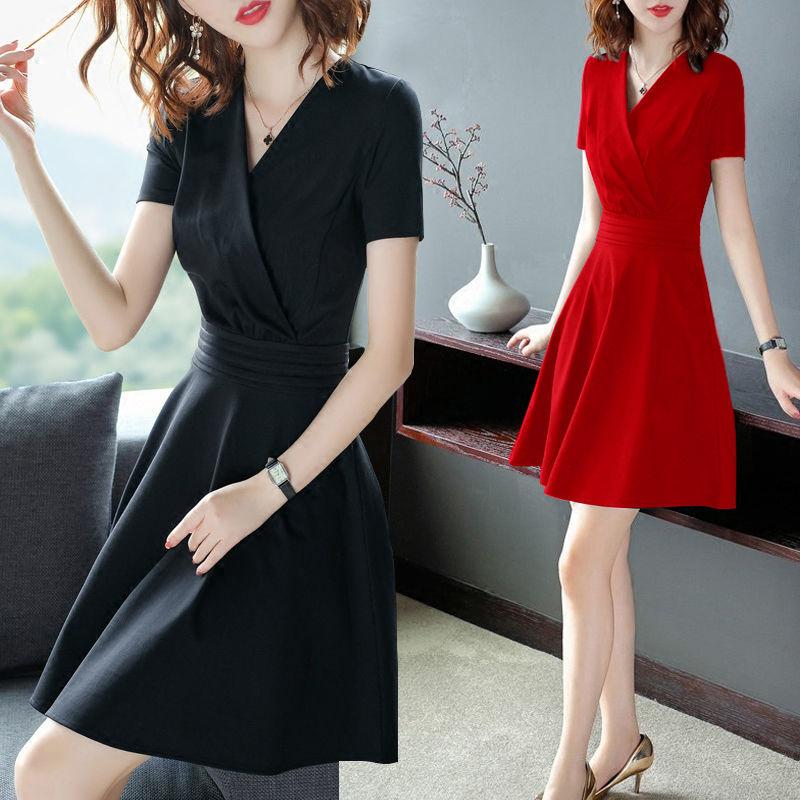 2020夏季新款6363 黑色连衣裙女夏装V领短袖中长显瘦气质裙子图片