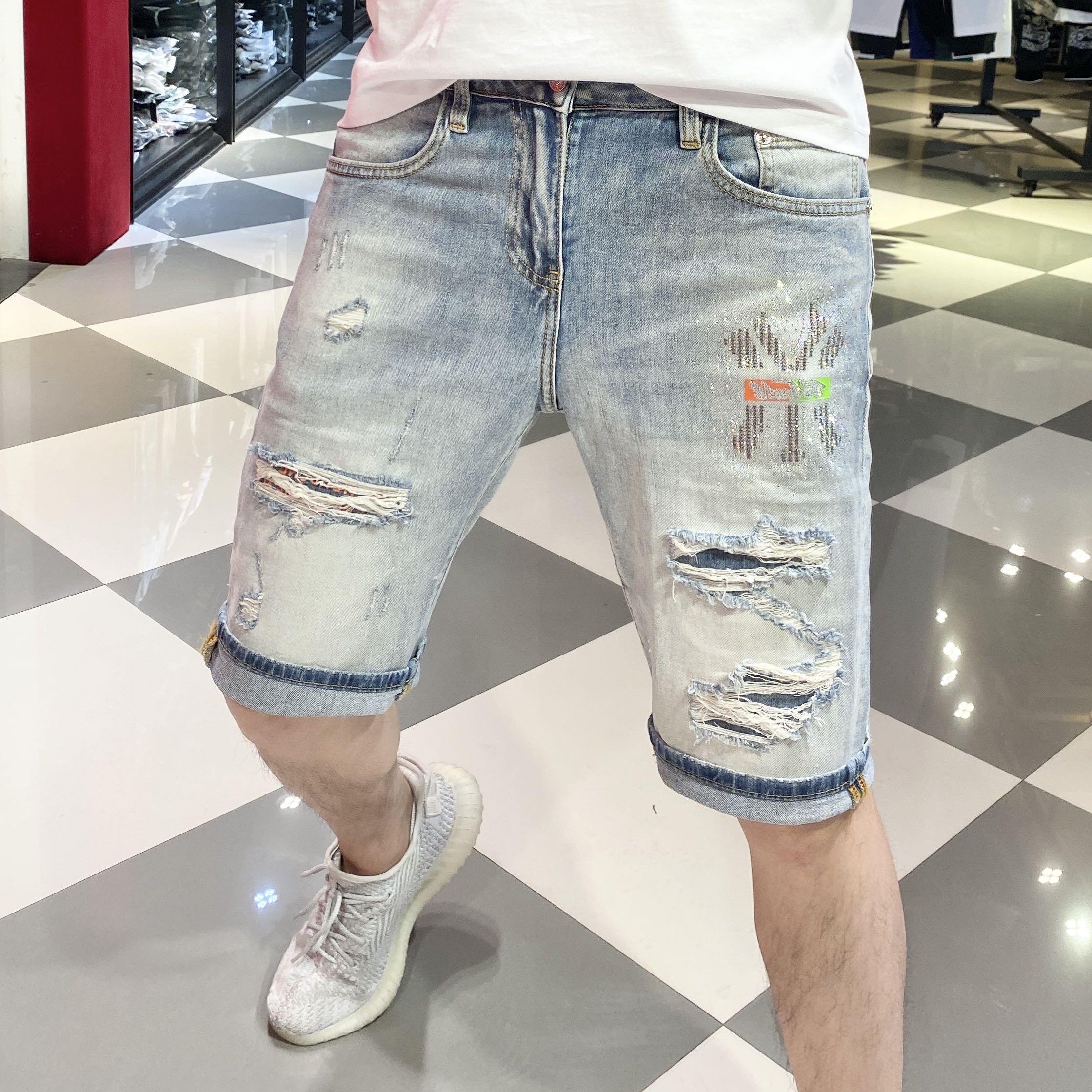 2020欧洲站夏季时尚潮牌帅气破洞烫钻男士牛仔短裤潮流五分中裤潮