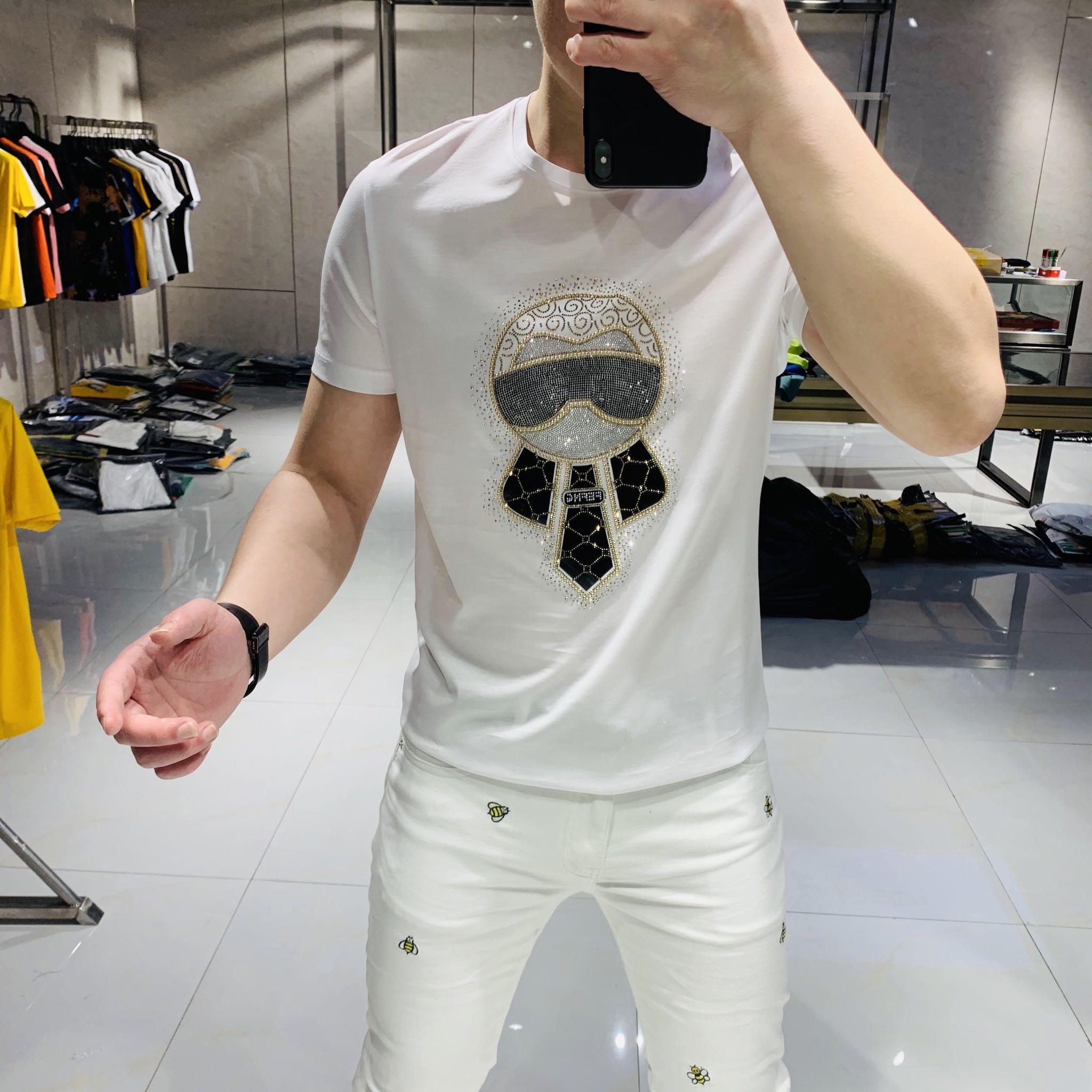 帝哲尼2020夏季新款欧美潮牌小人头烫钻丝光棉短袖T恤男圆领修身