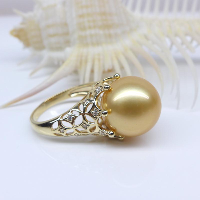 岁末清货南洋金珠戒指13-14mm金色海水珍珠指环18K金南洋珍珠首饰