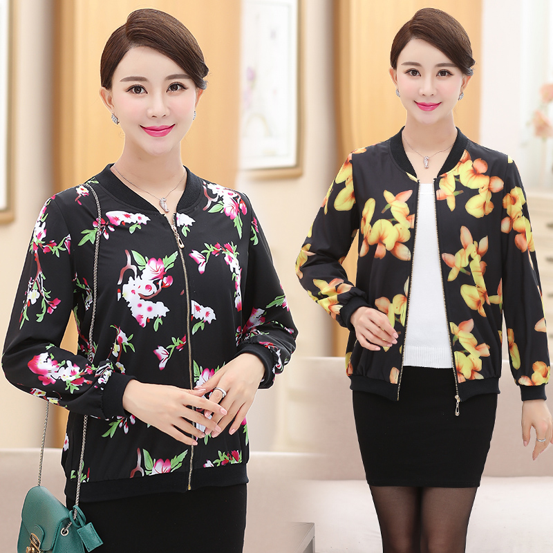New middle-aged womens thin coat, fashionable mothers jacket, clothes on Mothers large loose armour, NV