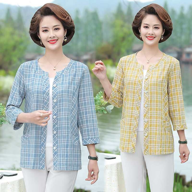 Fashion mother summer shirt 40-year-old 50 middle-aged womens Plaid Shirt middle-aged and elderly womens summer cardigan top