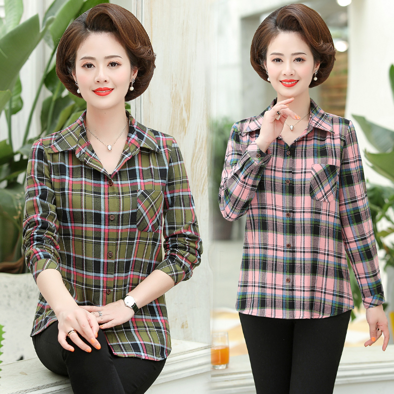 Clothes for women in their 40s old womens long sleeve shirt mother middle aged mother 50-60-70 inch clothes