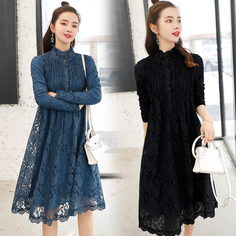 Ladies and gentlemen lace long sleeved dress spring and autumn bottomed Jumpsuit 30 young women 40 foreign womens Jumpsuit group