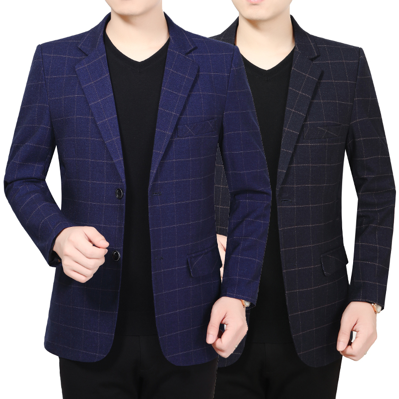 Mens two button Plaid casual suit 2021 autumn winter fathers small suit mens coat young and middle-aged mens business suit
