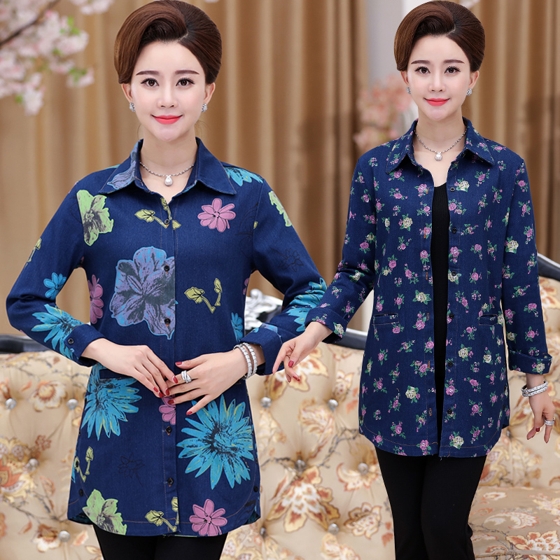 Autumn womens coat middle-aged shirt long sleeve coat mothers big size windbreaker thin middle-aged and old womens jeans shirt