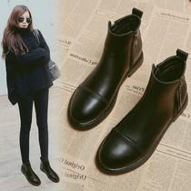 平底短靴女2020新款秋冬百搭加绒保暖棉鞋女靴子防滑英伦风马丁靴