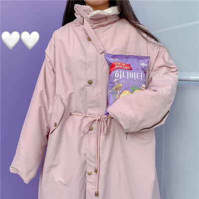 鬼马少女韩国冬chic复古羊羔毛立领防风加厚长款保暖棉衣大衣外套