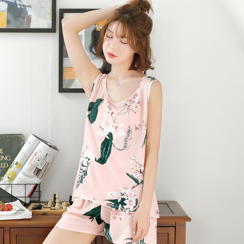 睡衣女夏季绵绸短袖套装纯棉绸薄款可爱家居服宽松人造棉布空调服