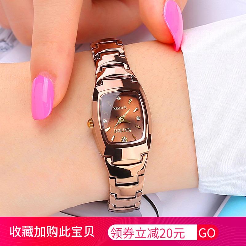Authentic watch female student Korean version simple fashion trend female watch waterproof tungsten steel quartz female watch Watch