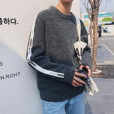 2019秋装新款韩版宽松织带毛线针织衫情侣毛衣外套Y957-P40