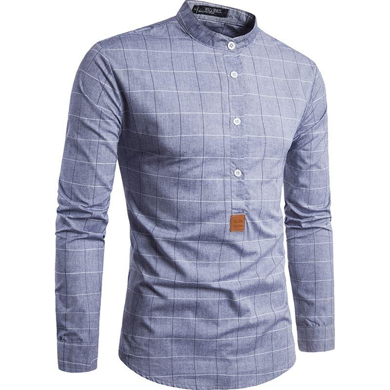 秋装大格子小皮标设计衬衣 男士长袖衬衫man men's casual shirts