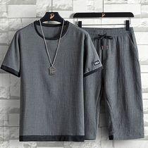 冰丝套装男夏季宽松大码休闲账动套装潮牌亚麻男短袖七分裤两件套