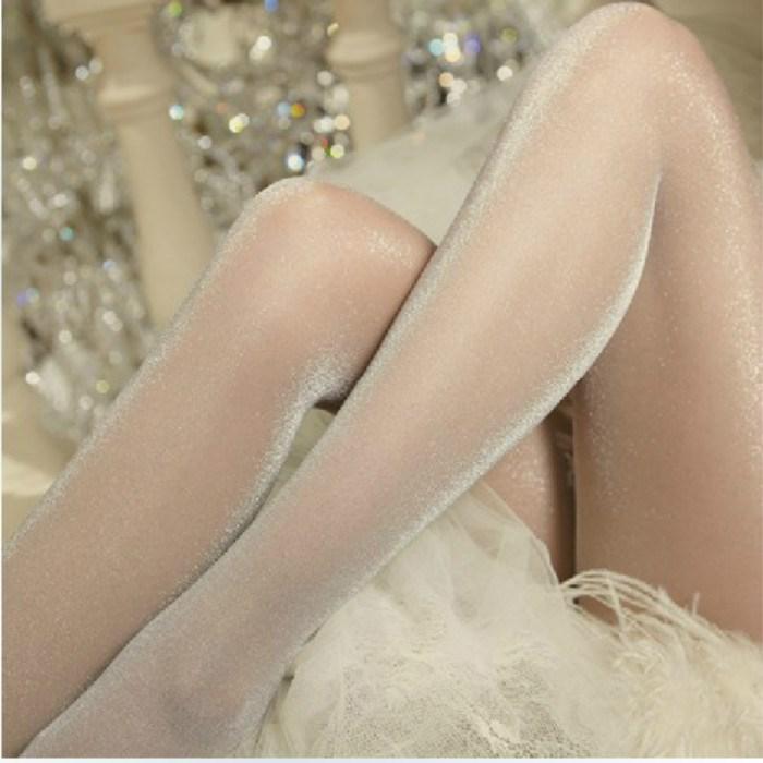 日韩新款珠光油亮丝黑丝袜女连裤超薄透明透肉夜店炫彩性感袜子