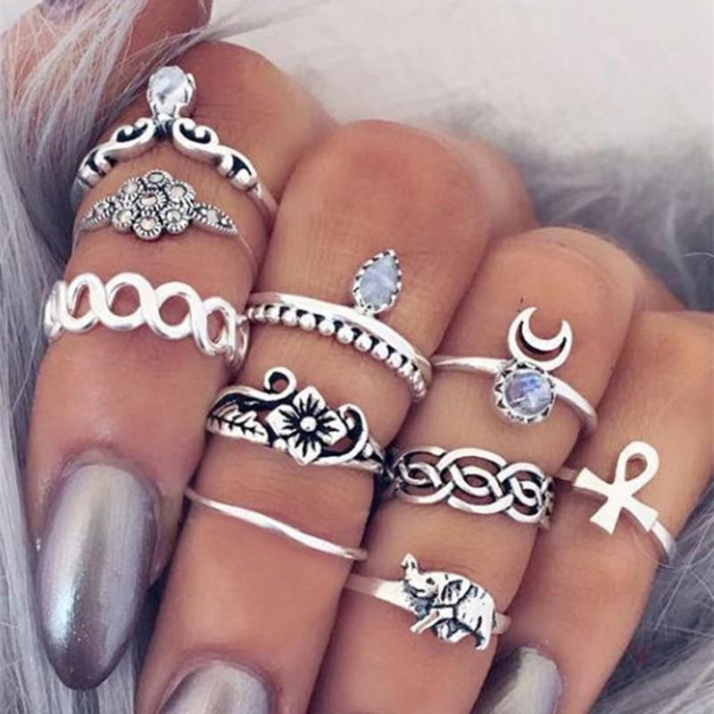 欧美复古夸感雕花组合十件套戒指 百搭麻花花朵宝石套指 厂家直销