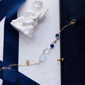包邮   薄荷海盐冰沙6A级别玻璃体蓝月光石蓝晶石白水晶14K金手链