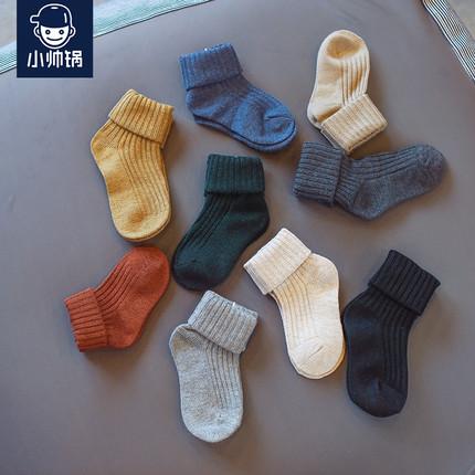2018冬季儿童袜子纯棉男童加厚中筒袜7-9岁宝宝女孩保暖堆堆袜潮