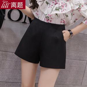 高腰显瘦黑色阔腿a字短裤女夏季新款韩版雪纺薄款学生宽松休闲裤