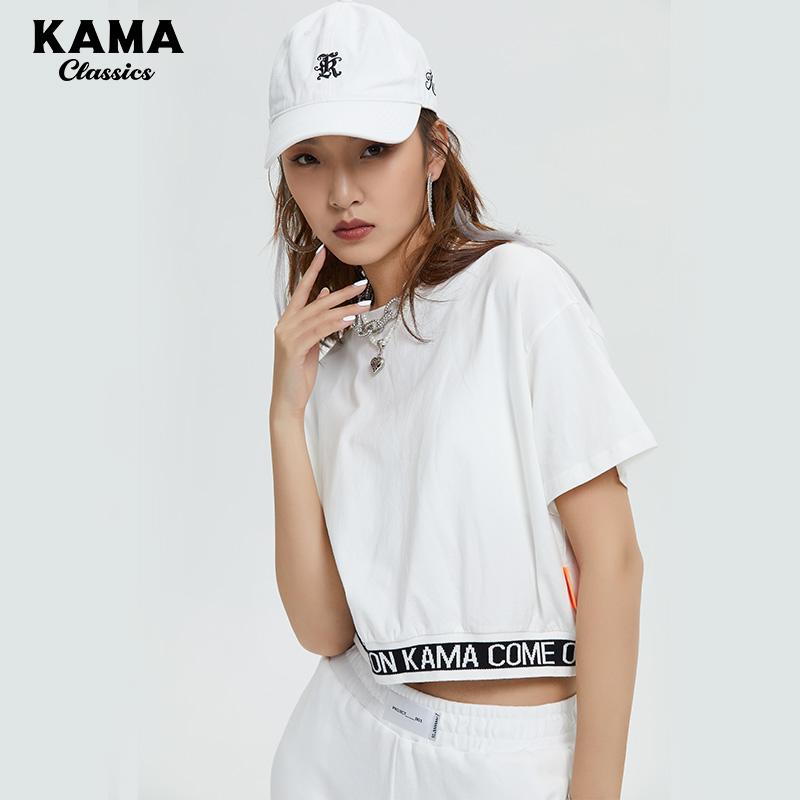 卡玛KAMA2020年新款t恤女短袖简约白色字母上衣夏T恤7220555