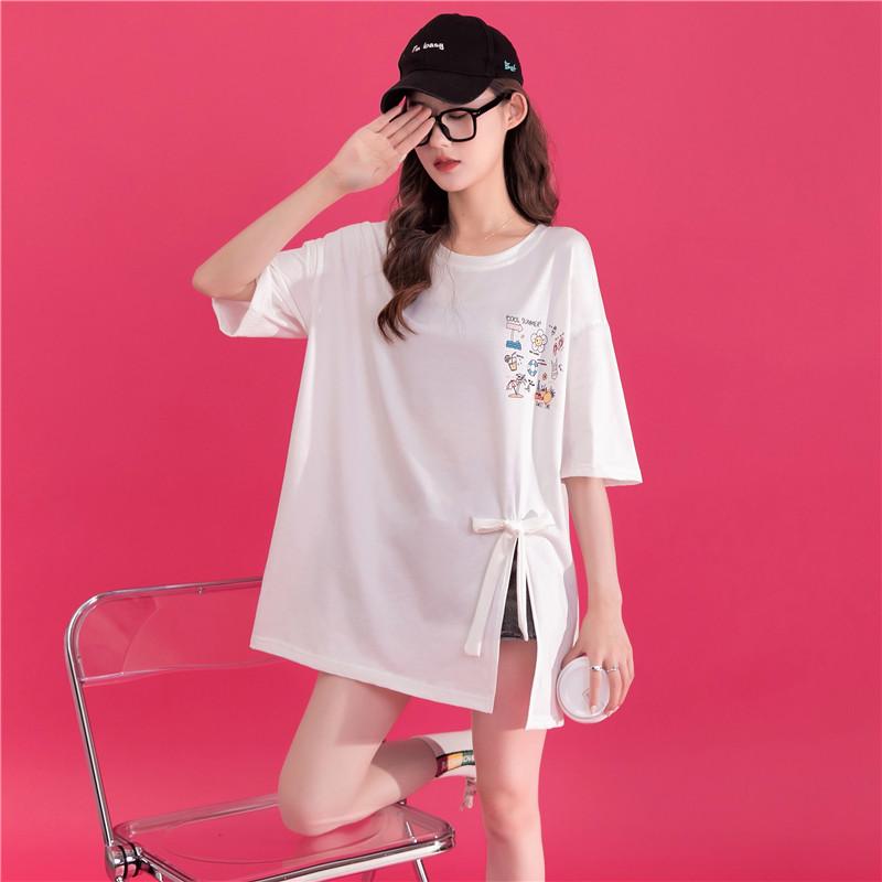 实拍蝴蝶结开叉印花t恤女春夏季新款半袖中长款设计感小众上衣潮