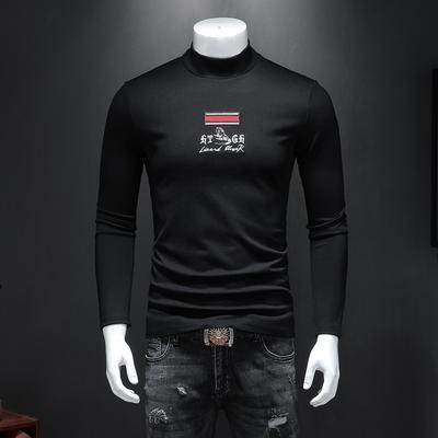 男秋冬长袖个性刺绣丝光棉半高领T恤打底衫 钱塘2009 货号702 P75