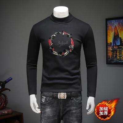 男秋冬季新款加绒长袖半高领修身T恤 钱塘2009 货号53105 P70