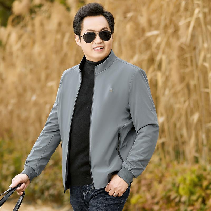 Qianshanji middle aged mens autumn black jacket zipper jacket dads top business casual fathers coat