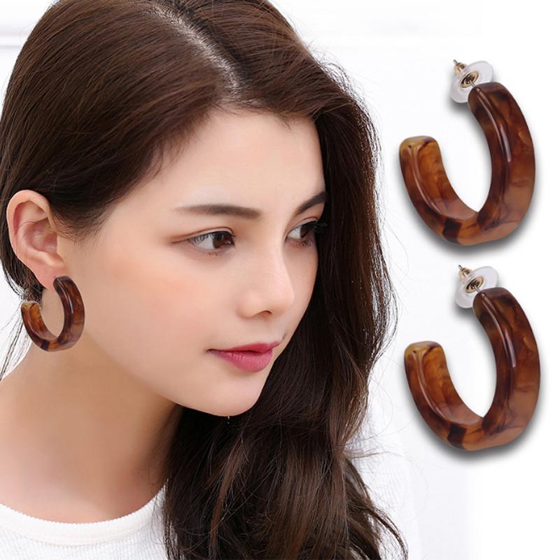 Free mail Japanese acetic acid irregular texture Caramel minimalist ring versatile C-type earring earrings and Earrings