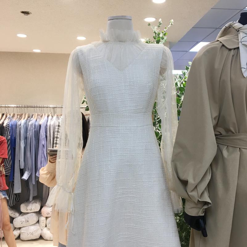 韩国ulzzang2018新款名媛性感透视网纱泡泡袖高腰中长款a字连衣裙