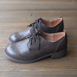 三五年秋装气质文艺头层牛皮真皮单鞋手工系带复古森系中跟女鞋子