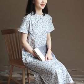 三五年Q556夏装新款文艺中式改良旗袍森系复古纯棉连衣裙中长裙女