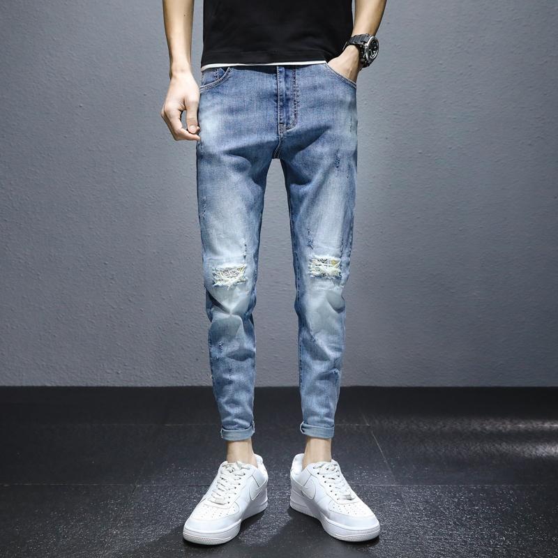 新款牛仔裤2021春季男韩版修身潮流青年百搭休闲小脚裤K3302-P55