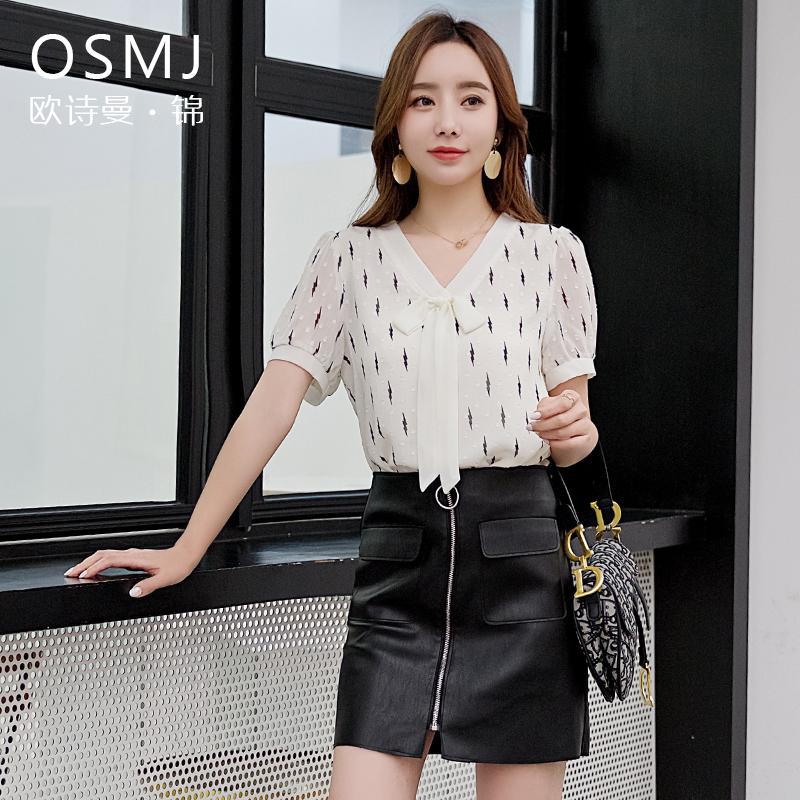 歐詩曼錦夏裝短袖洋氣v領系帶雪紡襯衫2019新款女夏季