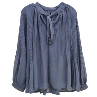 很仙雪紡衫新款長袖綁帶百褶壓褶繫帶顯瘦襯衫純色修身上衣仙女潮