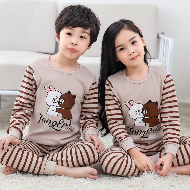 儿童秋衣秋裤套装男童女童大童纯棉内衣男孩宝宝薄款100%全棉睡衣